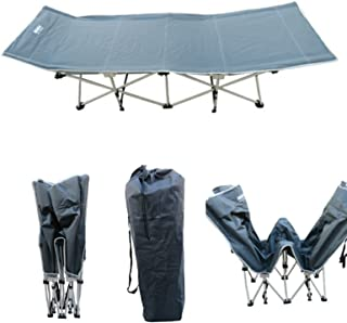 Amaze Folding Portable Light Weight Outdoor Camping Travelling Trekking Bed Camp Cot with Carry Bag - Grey (Ext.Height)