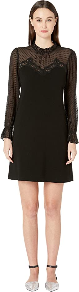 Long Sleeve Crepe Lace Dress