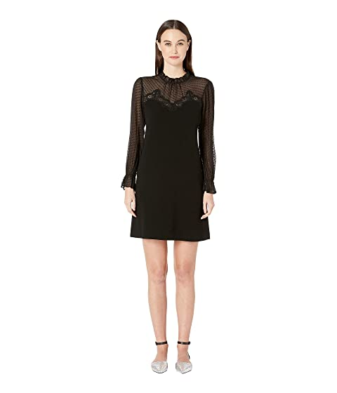 Rebecca Taylor Long Sleeve Crepe Lace Dress