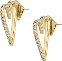 Alexis Bittar - Abstract Open Heart Stud Earrings with Crystal Accent