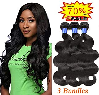 Gluna Hair Brazilian Virgin Body Wave 3 Bundles 100% Unprocessed 8A Virgin Body Wave Human Hair Weave Weft Extensions 3 Bundles Full Head Set (Natural Color,10 12 14 inch)