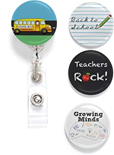 Buttonsmith Teacher Tinker Reel Retractable Badge Reel - with Alligator Clip and Extra-Long 36 inch Standard Duty Cord - Made in The USA