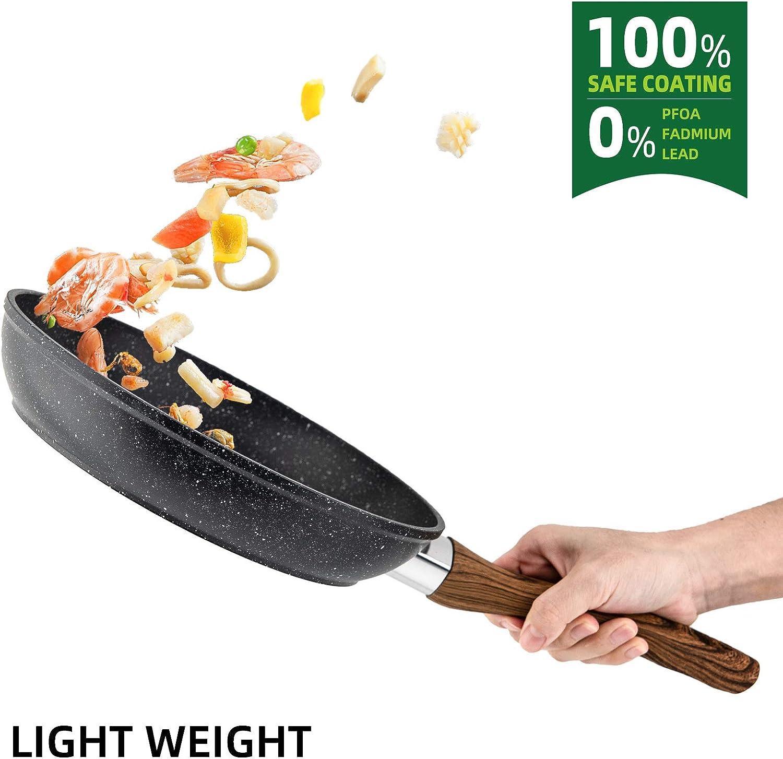 Po/êle /à frire Oeufs antiadh/ésifs 18cm anti-rayures antiadh/ésif et conception de poign/ée anti-br/ûlure Wok /à induction pour steak Bacon Hot-Dog Burgers Pizza RAINBEAN Woks en aluminium forg/é