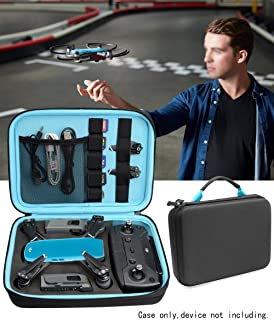 Upgraded Case for DJI Spark Portable Mini Quadcopter Drone, Slots for Charger adpter, 2 Batteries and propellers, Pockets for USB, Cable, Micro SD Cards and Charger (Black + Blue 1/2