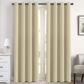 Thermal Insulated Blackout Curtains for Living Room Blackout Curtains 84 inches Long - Grommet Top Glass Door Panels - Beige- 52
