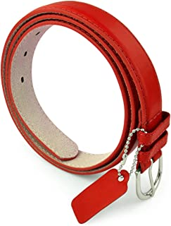 Womens Chic Dress Belt Bonded Leather Polished Buckle