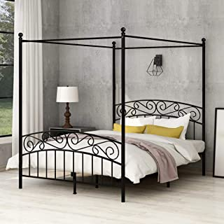 AUFANK Canopy Bed with Sturday Metal Bed Frame No Box Spring Needed Mattress Foundation Black Queen Size