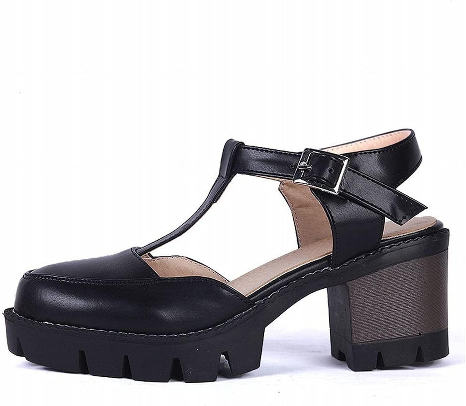 WANabcMAN Comfortable Women's T-Strap Buckle Retro Fashion Date Platform Chunky Mid Heel Sandals shoes