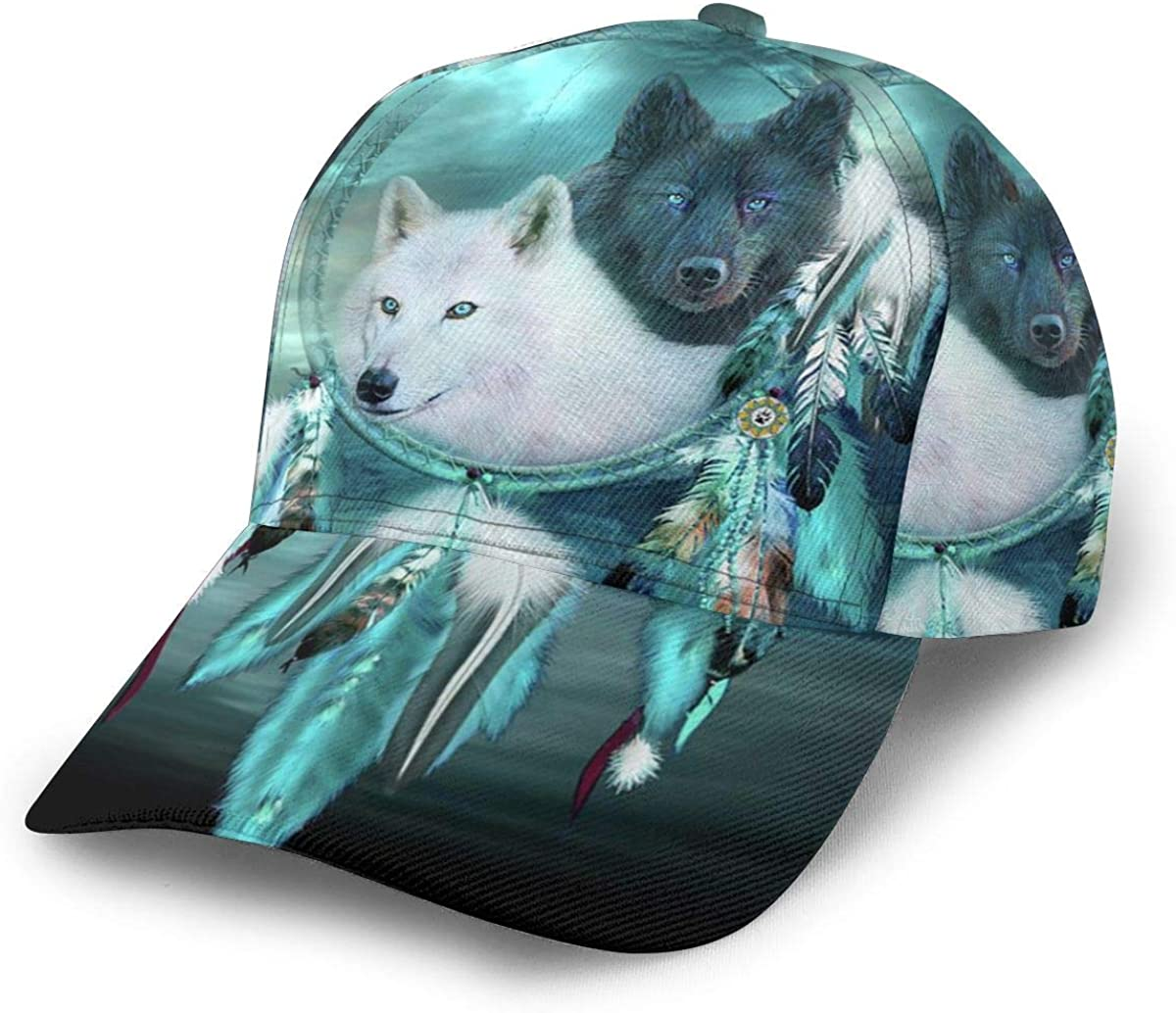 Cheap New product!! mail order specialty store Unisex Baseball Caps Native American Wolf Print 3D Catcher Dream