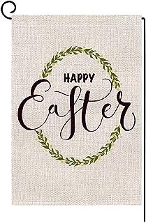 BLKWHT Happy Easter Egg Garden Flag Vertical Double Sided 12 x 18 Inch Spring Yard Decor