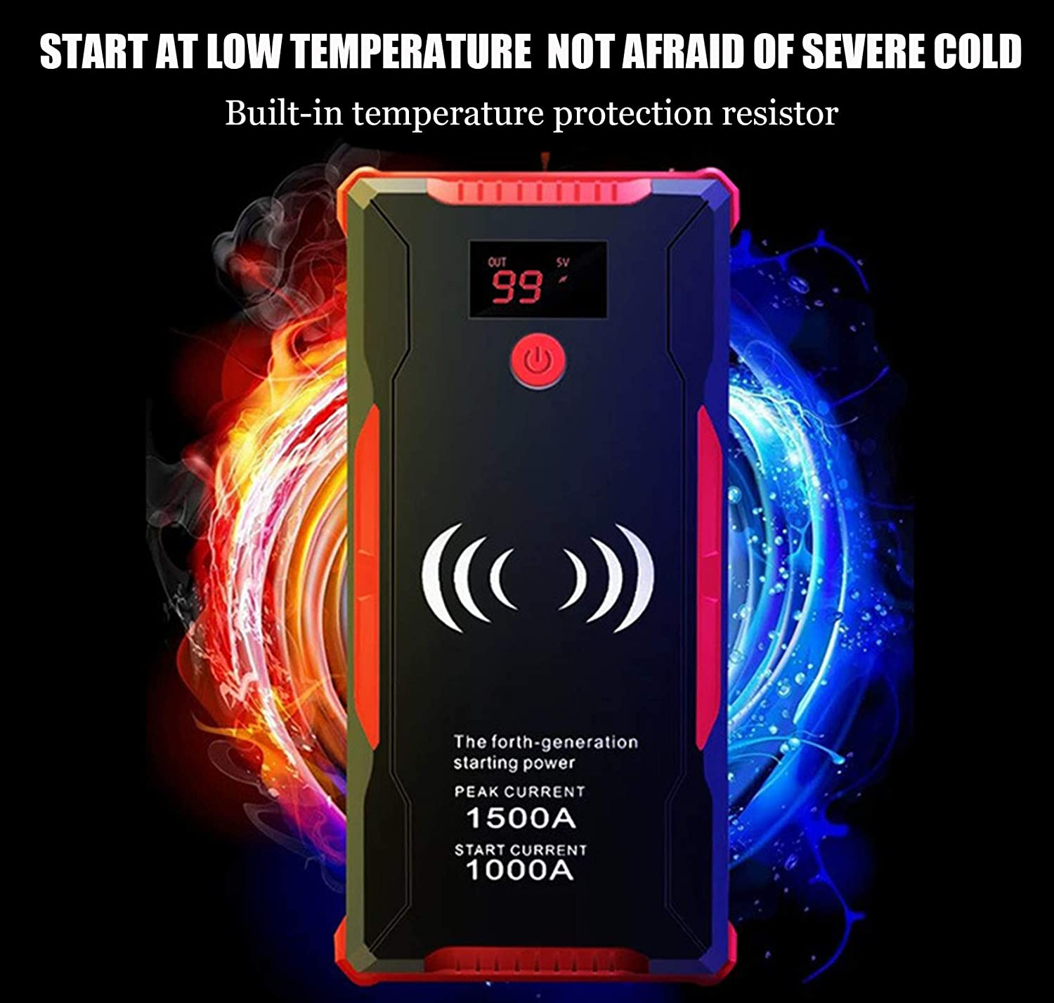 1500A Peak 18000mAh Lithium Car Jump Starter Support Mobile Phone Wireless Charging 12V Diesel and Gasoline Universal Unlimited Displacement Portable Power Pack with Storage Case