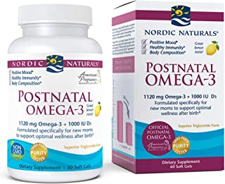 Nordic Naturals Postnatal Omega-3, Lemon - 1120 Total Omega-3 + 1000 IU Vitamin D3 - 60 Soft Gels - Formulated for New Mom...