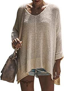 Women's Casual V Neck Loose Oversized Pullover Sweater High Low Knitted Jumper