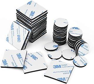 Dubbelzijdig schuimrubberen pads, 50 stuks dubbelzijdige kleefpads sterk plakband vierkant en rond, zwart