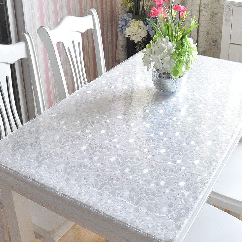 Couverture en plastique de table de ménage de nappe 1.7mm en verre doux de tapis de PVC for la table de bureau (Taille   90  90cm)