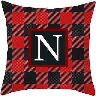 mikesinuo Black Red Lattice Throw Pillow Case English Alphabet Throw Pillow Case Modern Cushion Cover Square Pillowcase De...