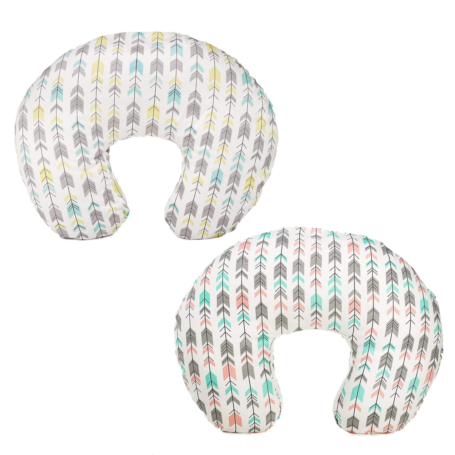 Org Store Premium Nursing Pillow Cover   Slipcover for Breastfeeding Pillows   Fits Most Boppy Pillows (Multi-Color Arrows) (2 Pack)