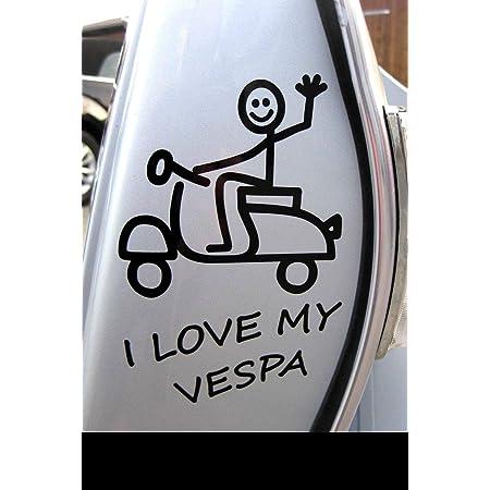 Supersticki I Love My Vespa Strichmännchen 15x10 5 Cm Aufkleber Roller Motorroller Scooter Autoaufkleber Wandtattoo Sticker Profi Qualität Für Lack Scheibe Etc Waschanlagenfest Auto