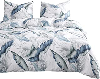 Wake In Cloud - Leaves Duvet Cover Set, 100% Cotton Bedding, Tropical Banana Tree and Palm Tree Leaves Pattern Printed in Blue and Green, with Zipper Closure (3pcs, Queen Size)
