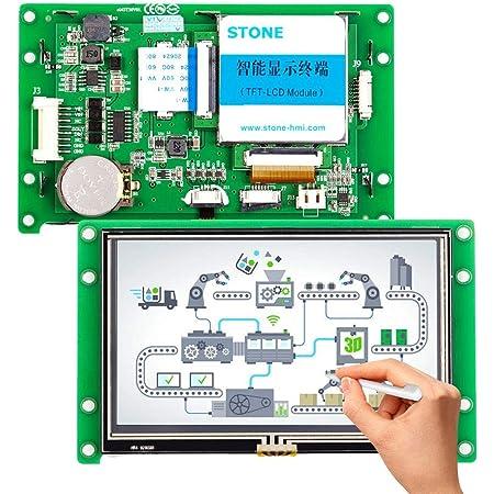 4.3インチHMIスクリーンモジュール タッチ・コントローラー・ドライバー・プログラム付き マイクロコントローラーをサポートし、金属フレーム付き