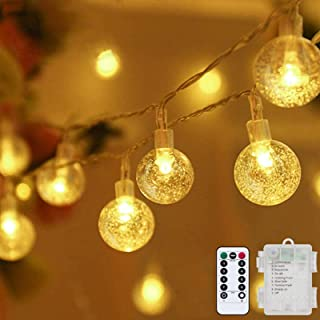 Globe String Lights Fairy Lights Battery Operated 32ft 80LED String Lights with Remote Waterproof Indoor Outdoor Hanging L...