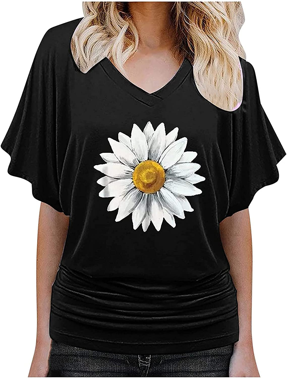 Women's Blouse Tops Fashion 3D Printed Floral Shirt V-Neck Loose Short Sleeve T-Shirt Pullover Tops