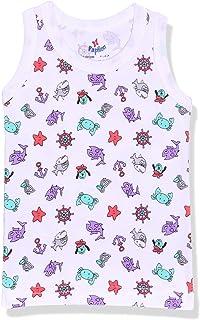 Papillon Printed Cotton Sleeveless Undershirt for Kids, White & Mauve, 18 Months