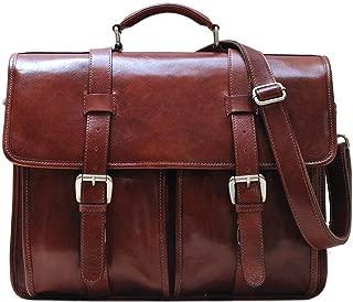 Floto Firenze Leather Buckle Strap Briefcase Messenger Bag - 1 Gusset (Vecchio Brown)