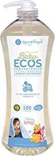 Earth Friendly Products Baby Ecos 4X Liquid Laundry Detergent, 200 Loads, Free & Clear, 2 X 50 Oz Bottles, 2Count, Free & ...