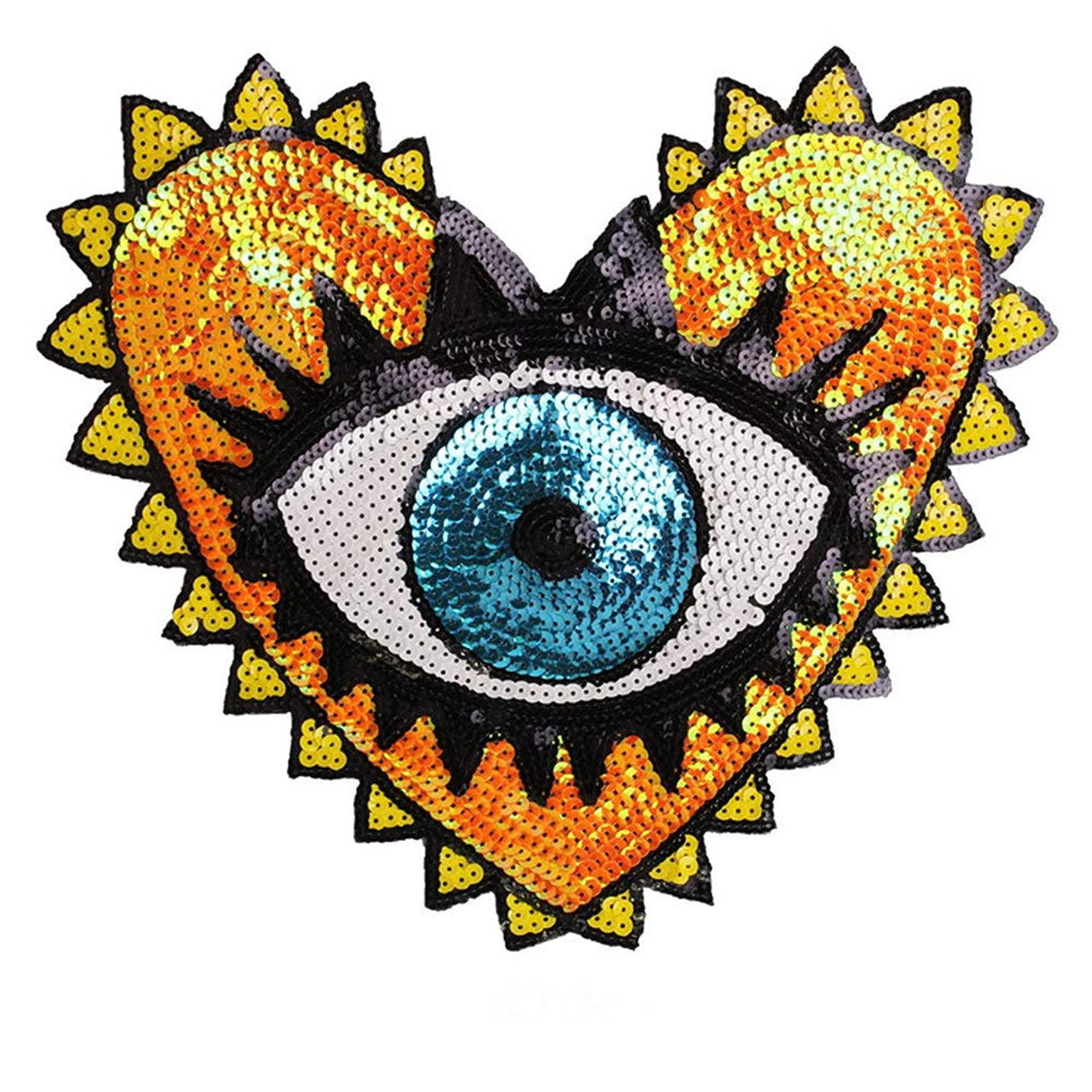 Sequin Patch Fashion Coat Patch Heart-Shaped Eye Sequins Embroidery Clothing Accessories Applique DIY Embroidery Flower Patches Jacket Badge (Style B)
