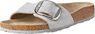 Birkenstock Madrid Big Buckle Washed Metallic Silver Suede Leather Sandal for Women