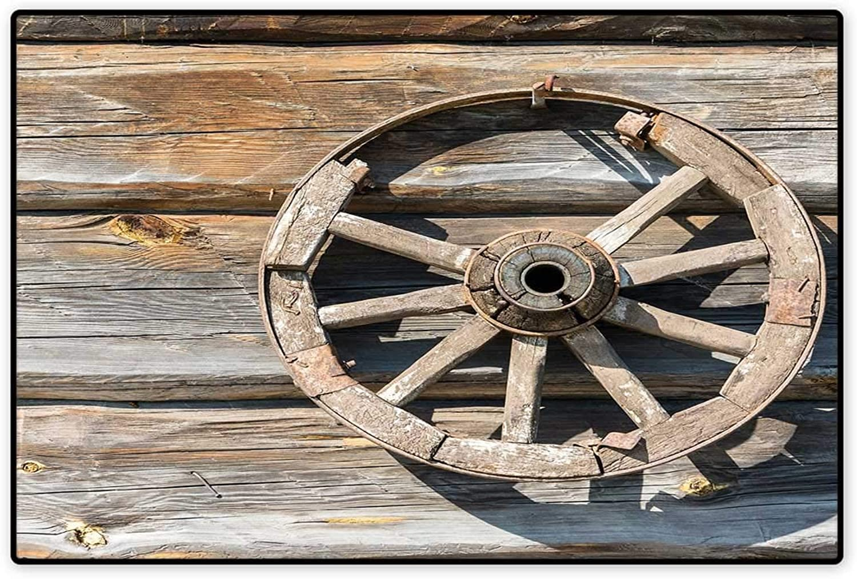 Barn Wood Wagon Wheel Door Mat Outside Old Log Wall with Cartwheel Telega Rural Countryside Themed Image Floor Mat Pattern 32 x48  Umber Beige