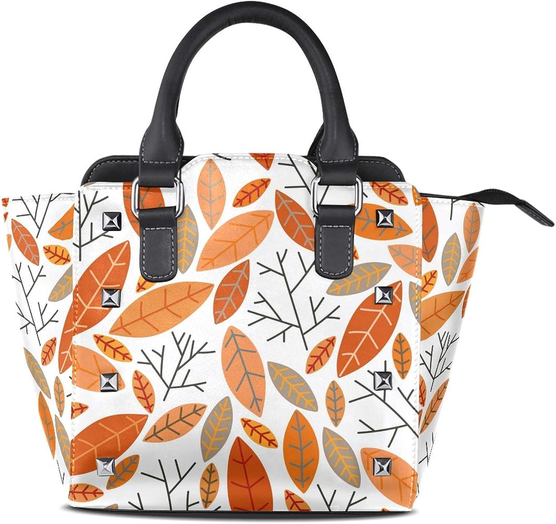 My Little Nest Women's Top Handle Satchel Handbag Doodle Autumn Floral Flower Leaves Pattern Ladies PU Leather Shoulder Bag Crossbody Bag