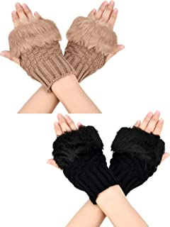 Boao 2 Pairs Fingerless Winter Gloves Short Touchscreen Gloves Thumb Hole Mittens Knitted Warm Gloves with Faux Fur
