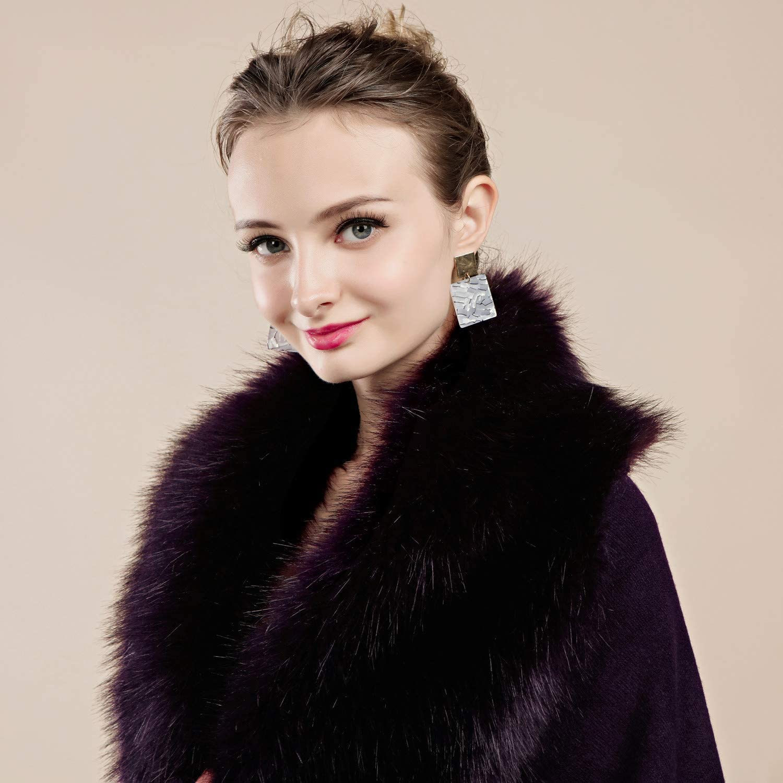 FOLOBE Damen Winter Strick Faux Pelz Poncho Capes Schal Cardigans Pullover Mantel Weiß-1