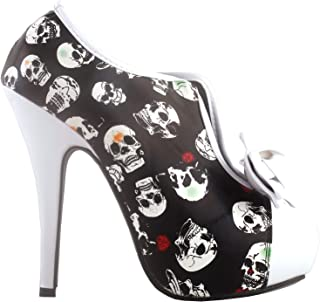 Vintage Two Tone Bow Platform Stiletto High Heel Ankle Boots,LF30427