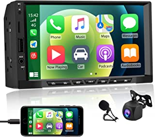 $94 » 7 Inch Touchscreen Double Din Car Stereo with Apple CarPlay and Android Auto, Multimedia Car Radio with Bluetooth and AHD ...