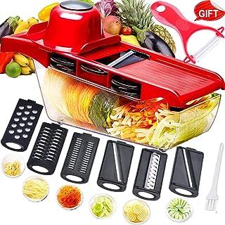 comprar comparacion Mandolina cortadora multifuncional,cortador de verduras,trituradora de alimentos,picadora rallador,6 cuchillas afiladas de...