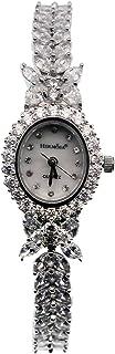 HERMOSA Watch Bracelet Oval Dial White Topaz Watchband Japanese Quartz Movement Classic Watches...