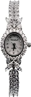 Watch Bracelet Oval Dial White Topaz Watchband Japanese Quartz Movement Classic Watches H2246