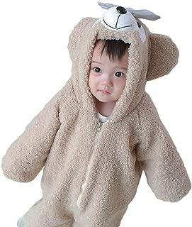 ロンパース クマ アニマル 着ぐるみ 冬 ベビー&キッズ用 防寒着 コスチューム クリーム90cm