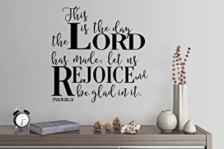 "Wall Stickers for Living Room 24""X24"" This is The Day The Lord Has Made Let Us Rejoice and Be Glad in It Psalm 118:24 Hymn Song Gospel Wall Decals for Boys Room"