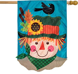 Briarwood Lane Harvest Scarecrow Fall Applique House Flag Double Sided 28
