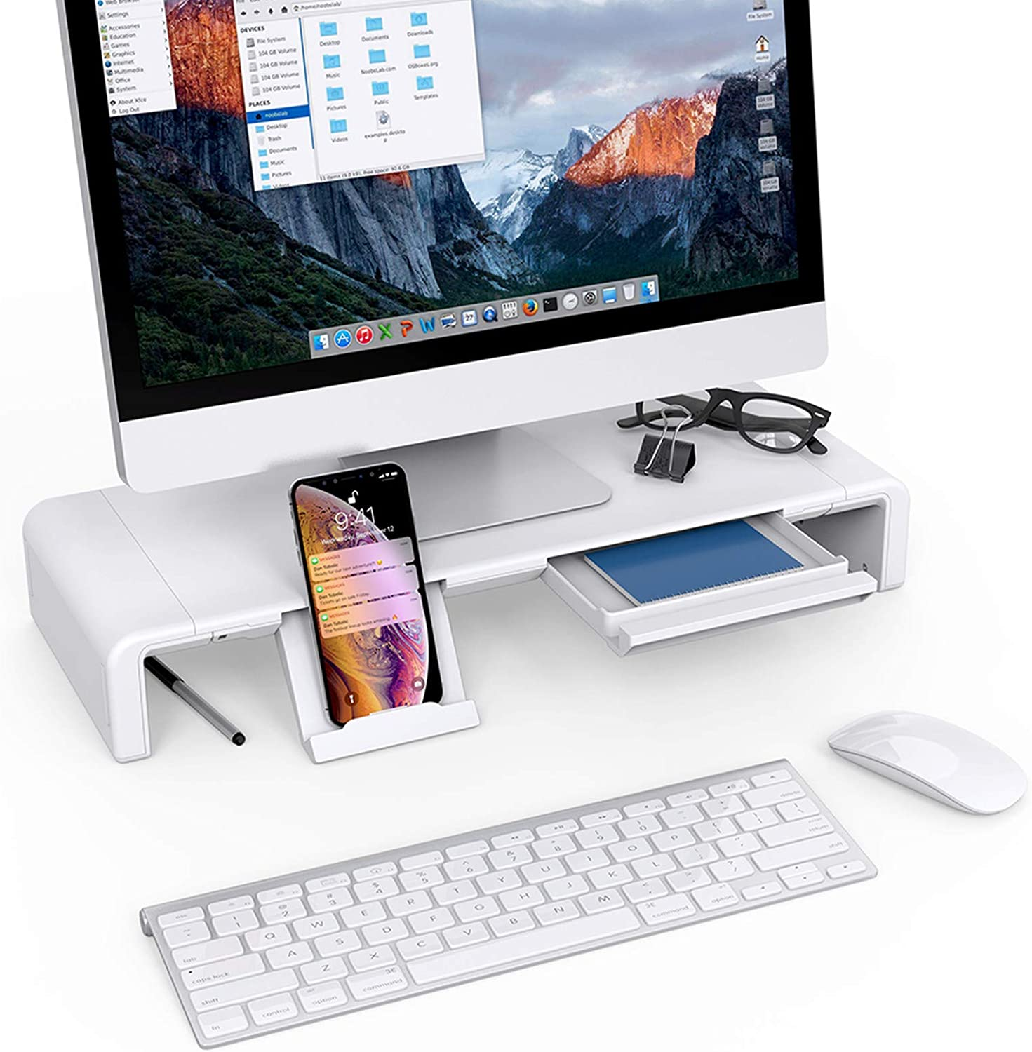 Monitor Stand Riser, Klearlook Maximized Clarity Foldable Computer Monitor Stand, Adjustable Computer Stand Desk Organizer with Storage Drawer, Tablet Phone Stand for Laptop PC Printer (White)