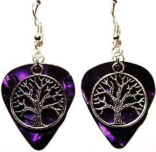Tree of Life Charm on Guitar Pick Earrings