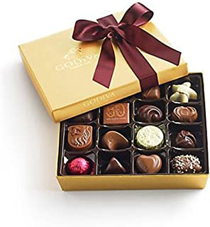 Godiva Chocolatier Assorted Chocolate Gold Gift Box with Wine Ribbon, Gift Box, Gourmet Chocolate, Chocolate Gifts, 19 pc
