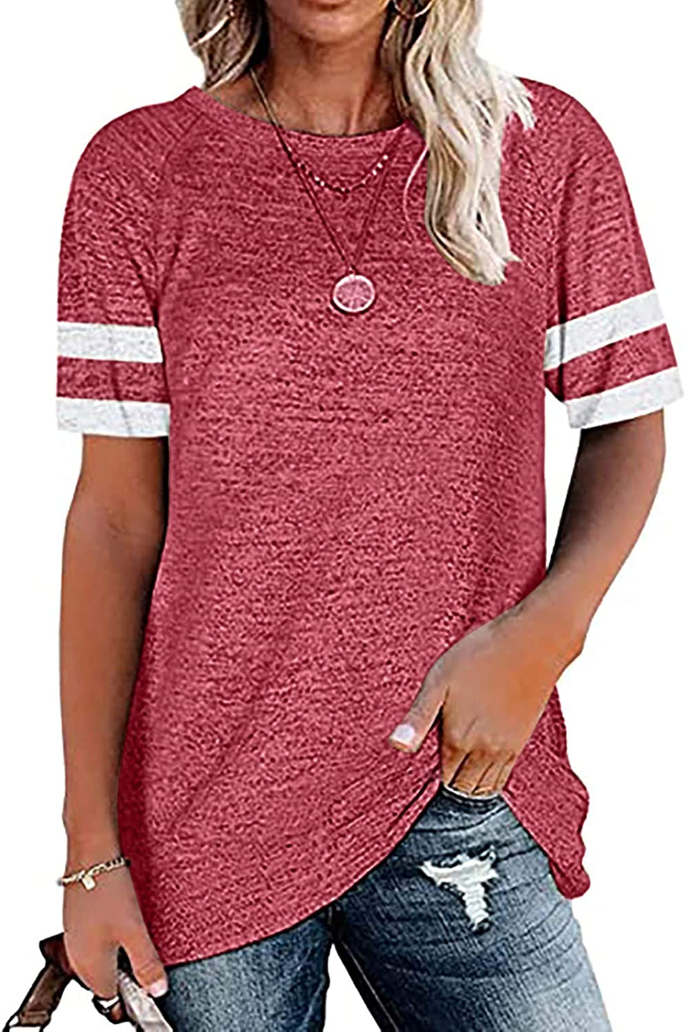 Aukbays Women's Short Sleeve T Shirts Casual Summer Tunic Tops Loose Fit Crew Neck Striped Blouses Tees Shirt