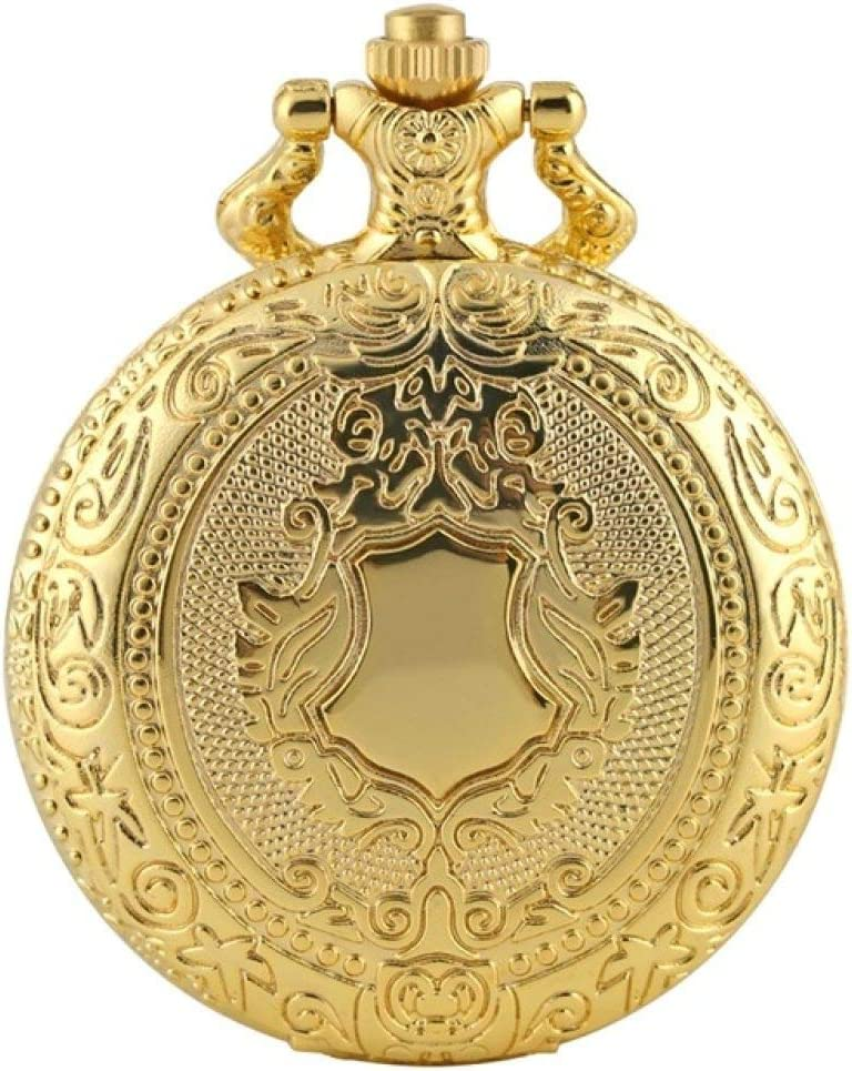 IOMLOP Pocket Watch Latest item Max 73% OFF Royal Gold Pattern Pocke Shield Quartz Crown