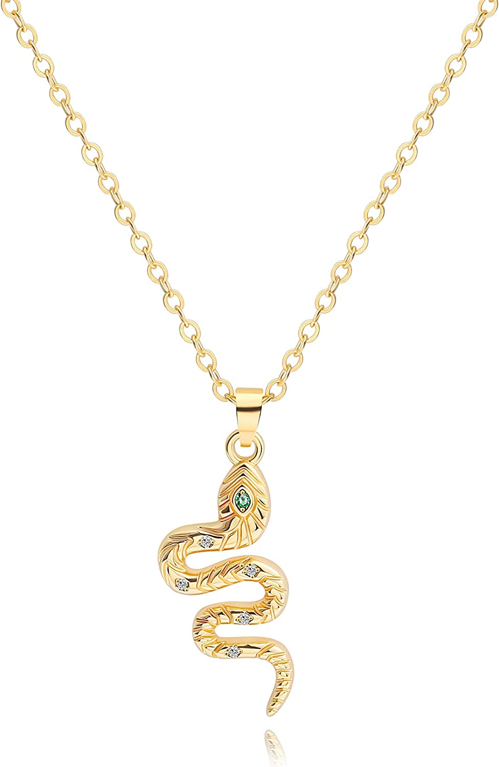 Crescent Moon and Star Pendant Necklace for Women Dainty Snake Tiny Heart Necklace 18K Gold Chain Dainty Micro-inlaid Zircon Simple Choker Necklace for Women