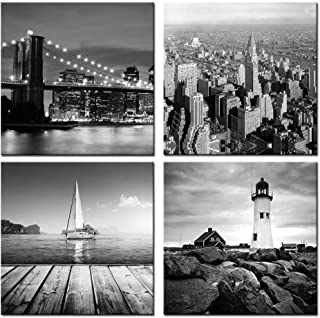 sechars - New York City Canvas Print,Black and White Brooklyn Bridge,Empire State Building,Seascape Lighthouse Pictures Giclee Print on Canvas,Landscape Canvas Wall Art Ready to Hang